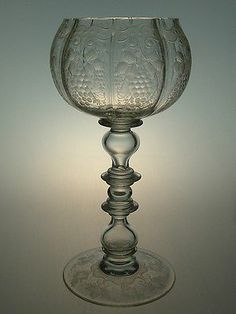 Large Engraved Bohemian Baroque Style Goblet Wine Glass