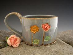 Mug with two flowers - Rustic Blue with Whimsical Flowers - Coffee Mug - Roses -  Wheel Thrown by DirtKicker Pottery. $28.00, via #Etsy.