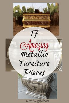17 AMAZING Metallic Furniture Makeovers – Design by – craftsfurniture Silver Painted Furniture, Metallic Furniture, Paint Furniture, Furniture Projects, Furniture Makeover, Chair Makeover, Furniture Refinishing, Refurbished Furniture, Furniture Design