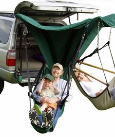"Perfect for tailgating, camping or sneaking away for a nap in your garage. This beauty is called the ""Green Eggs and Hammocks Trailer Hitch Hammock Chair Stand"" (quite a mouthful. It can attach to most standard square trailer hitches. Best Camping Gear, Tent Camping, Camping Hacks, Outdoor Camping, Camping Ideas, Hammock Chair Stand, Trailer Hitch, Outdoor Fun, Outdoor Stuff"