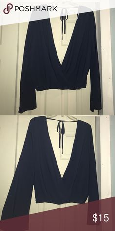NWOT Tobi top Long sleeve dark blue open back criss-cross top - never worn Tobi Tops Blouses
