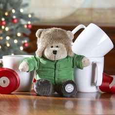 A collectible plush bear toy inspired by the winter season.