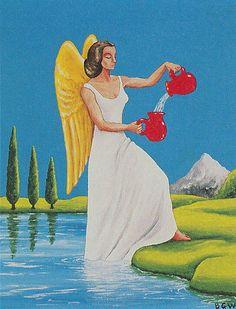 Illustration from the Barbara Walker Tarot Temperance Tarot Card, Magic Symbols, Tarot Card Meanings, Major Arcana, Human Condition, Oracle Cards, Old Things, Aurora Sleeping Beauty, Disney Characters