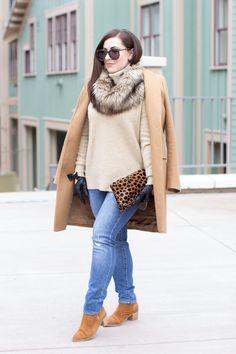 King and Kind blog sweater | jcrew denim | zara coat {similar here}| similar faux fur infinity scarf | leopard clutch | report signature suede boots {ON SALE!!} | leather bow moto gloves | baublebar earrings | karen walker sunglasses