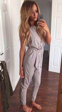 Grey Plain Belt Elastic Waist Fashion Long Jumpsuit