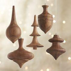Set of 5 Turned Wood Ornaments
