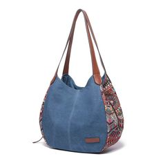 3 main pockets Brenice Bohemia large capacity canvas floral handbag shoulder bag for ., 3 main pockets Brenice Bohemia large capacity canvas floral handbag shoulder bag for . Denim Bag Patterns, Sewing Patterns, Sacs Tote Bags, Denim Purse, Jeans Denim, Denim Crafts, Patchwork Bags, Tote Pattern, Fabric Bags