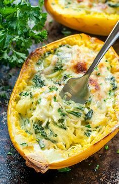 Cheesy Garlic Parmesan Spinach Spaghetti Squash recipe