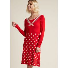 Blutsgeschwister Sailor Way Sweater Dress in Red ($100) ❤ liked on Polyvore featuring dresses, embellished dress, knit dress, red sweater dress, knit sweater dress and red sheath dress