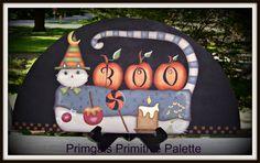 Halloween Cat Boo Wood Door Crown Door Topper Holiday by Primgal