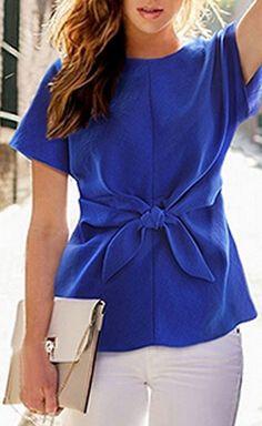 Blue Short Sleeve Tie Front Blouse