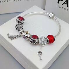 pandora charm bracelet with red theme charms high heel key pendant