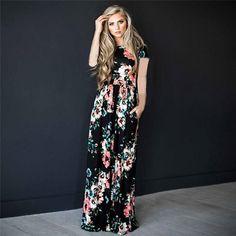 673b7179cf6 Dámské dlouhé šaty s květinami – černé L Na tento produkt se vztahuje nejen  zajímavá sleva