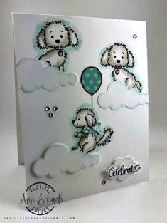 Watercolored Dog Card - Happy Birthday, Twins - The Stampin' Schach Cat Cards, Kids Cards, Cool Birthday Cards, Happy Birthday, Birthday Nails, Birthday Images, Birthday Quotes, Birthday Greetings, Birthday Wishes