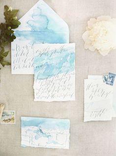 Coastal And Beach Wedding Stationary Ideas | HappyWedd.com