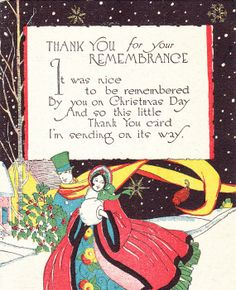 Nice to Be Remembered- Christmas Thank You- Rust Craft Boston-1920s Vintage Card