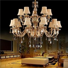This European Style Crystal Chandelier Pendant Light is suit for bedroom living room study hallway Lustre Antique, Lighting Suppliers, Fan Decoration, Le Tube, Made To Measure Curtains, Chandelier Pendant Lights, Bedroom Lighting, European Fashion, Lamp Light