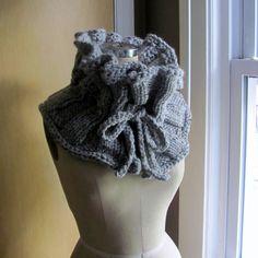 Handmade Ruffled Neckwarmer Grey Scarf by MegnificentCo on Etsy, $62.00