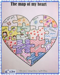 Art therapy activities social workers The Map of my Heart Caring- Writing and Social Skills Bilingual Education Activities Social Skills Activities, Art Therapy Activities, Educational Activities, Emotions Activities, Shape Activities, Listening Activities, Vocabulary Games, Bilingual Education, Kids Education