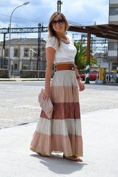 How to Look Casual Chic in Maxi Skirts Modest Dresses, Modest Outfits, Modest Fashion, Boho Fashion, Cute Outfits, Fashion Design, Modest Clothing, Fashion 2015, Winter Fashion
