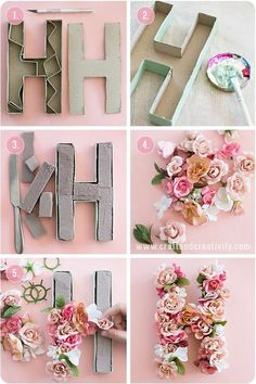 Do It Yourself Solar Electricity For Your House 10 Summer Diy Projects You Must Try Tutorials Cute Diy Crafts Floral Letters Floral Diy Wonder Forest Paper Mache Letters, Diy Letters, Cardboard Letters, Nursery Letters, Decorative Letters For Wall, Letter Wall Art, Letter Crafts, Decorative Paper, Handmade Crafts