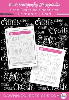 Mixed Lettering Practice Sheets: Create. Grab this free mixed lettering styles custom practice sheet in both printable and iPad versions! #handlettering #ipadlettering #procrate #modernbrushlettering #brushlettering