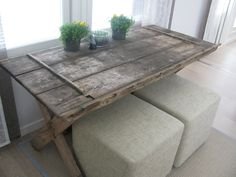 I'm curious about using old doors as tables, but where oh where to find a small shabby door to make a coffee table?