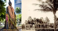 The statue of Liliʻuokalani stands at the Hawaiʻi State Capitol, but she faces ʻIolani Palace, her former home.