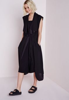 Sleeveless Belted Waterfall Duster Coat Black - Coats and Jackets - Missguided