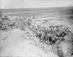 Welsh Guards in a reserve trench at Guillemont. September, 1916.
