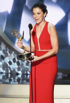 Orphan Black's Tatiana Maslany Finally Wins an Emmy   Tatiana Maslany won the Emmy for Lead Actress in a Drama Series at Sunday's 68th Primetime Emmy Awards for her performance on BBC America's Orphan Black.  It was Maslany's second nomination for the sci-fi series. In Season 4 she played eight characters (all clones). She has played a total of 11  ... Read More >  Other Links From TVGuide.com  68th Primetime Emmy Awards  Tatiana Maslany  Orphan Black  Keri Russell  The Americans  Claire…