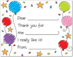 Colorful Balloons Fill-in Birthday Th... (bestseller)