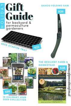 This holiday gift guide for backyard gardeners will give you all kinds of ideas for your small space gardening and permaculture friends. Find ideas for small gardening tools (great stocking stuffers!), seed starting kits, books, and more. You'll find the perfect holiday or Christmas gift for the gardener in your life. Holiday Gift Guide, Holiday Gifts, Christmas Gifts, Small Space Gardening, Gardening Tools, Seed Starting, Garden Accessories, Fruit Trees, Permaculture