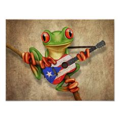 Shop Tree Frog Playing Puerto Rico Flag Guitar Poster created by crazycreatures. Puerto Rico Tattoo, Pr Flag, Puerto Rico Pictures, Guitar Posters, Puerto Rico History, Frog Tattoos, Puerto Rican Culture, Australian Flags, Cartoon Eyes