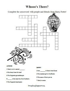 Harry Potter Unit Worksheet: Harry and friends crossword puzzle