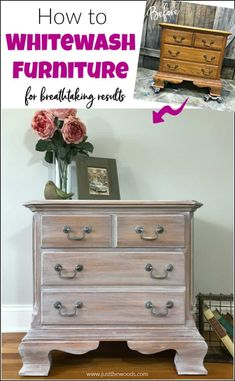 See how to whitewash wood furniture for a gorgeous weathered wood finish. Create the appearance of white wood stain with whitewash paint. White Painted Furniture, Whitewash Wood, Redo Furniture, White Wash Wood Furniture, Furniture Diy, Painting Furniture Diy, Furniture Projects, Painted Furniture, White Washed Furniture