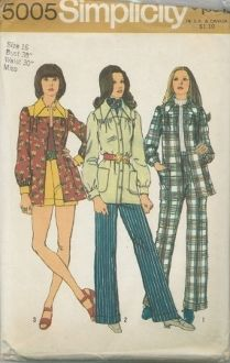 An unused original ca. 1972 Simplicity Pattern 5005.  Smock-Jacket, Pants and Shorts:  The pants V.1 & 2 and shorts V. 3 have back zipper, waistband and turn back cuffs.  The smock-jacket softly gathered to yoke has front button closing, patch pockets, long sleeves pleated to buttoned cuffs and optional top-stitching.  V. 3 has yoke, collar, and cuffs of shorts fabric.  All garments may be worn with a purchased belt.