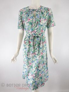 Vtg 70s Short Sleeve Belted Shift Dress. Easy care day dress in watercolor abstract print. lg by BeeDeeVintage, $35.00