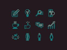The concept of neon icons for office navigation for Internet agency.