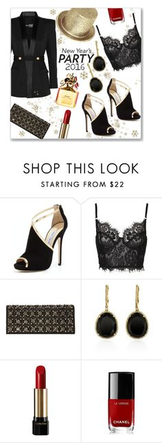 """HNY-2016"" by jckallan ❤ liked on Polyvore featuring Balmain, Jimmy Choo, Stuart Weitzman, Effy Jewelry, Lancôme, Chanel, Marc Jacobs and danceparty"