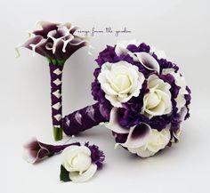 Purple White Wedding Package Picasso Callas Roses Purple Hydrangea Bridal Bouquet Groom Best Man Boutonniere Bridesmaid Bouquet
