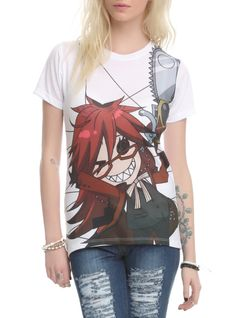 Top with Black Butler Grell sublimation print design.