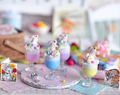 RESERVED-Miniature Easter Bunny Parfait Set