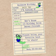 Library Card Bookworm Invitation For Birthday By DecorableDesigns 1700 Book Parties 7th