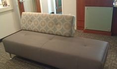 Arc-Com Shibori Install Bench with Large Scale Geometric Circle Blue/Yellow Upholstery