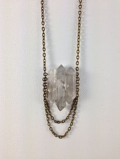 raw crystal quartz necklace