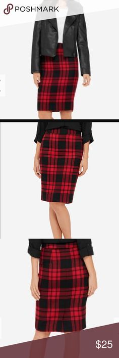 Red Plaid Pencil Skirt Festive skirt from the Limited. Size 12 and only worn once. Hits at knee and I am 5'6. No rips or stains. Great for Valentines Day! ❤️❤️ back vent and no pockets. Please no trades but open to offers. The Limited Skirts Pencil