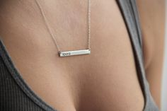 Silver Nameplate Necklace Silver Name Bar Necklace от capucinne, $122,00