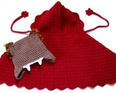 crochet pattern for a red riding hood cape and wolf hat, so cute for a dad and baby girl!