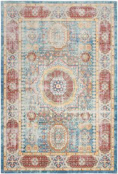VAL111M Rug from Valencia collection. This Persian medallion oriental carpet from Safavieh's Valencia rug collection features an ornate central design and border colored in vivid rust and blue.